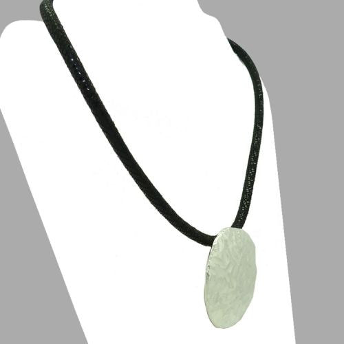 Simon Sebbag Round Hammered Sterling Silver Disc Textured Black Leather Necklace - ILoveThatGift