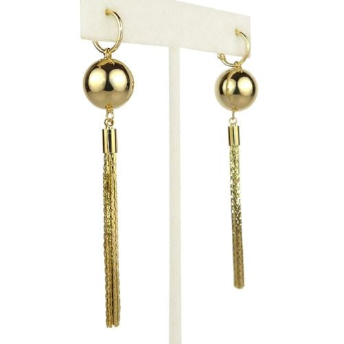 Nanni Gold Metal Bead Tassel Earrings with Hoop Posts - ILoveThatGift