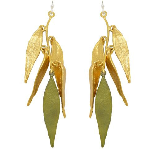 Weeping Willow Two Tone Multi-Leaf Earrings by Michael Michaud 3077 - ILoveThatGift
