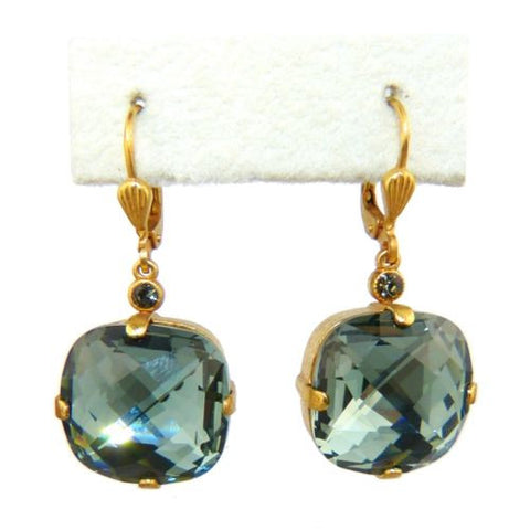 La Vie Parisienne Earrings Swarovski Crystal Popesco 6575G Indian Sapphire Extra - ILoveThatGift