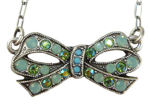La Contessa Mary DeMarco Fiori di Bosco Bow Necklace Turquoise Swarovski - ILoveThatGift