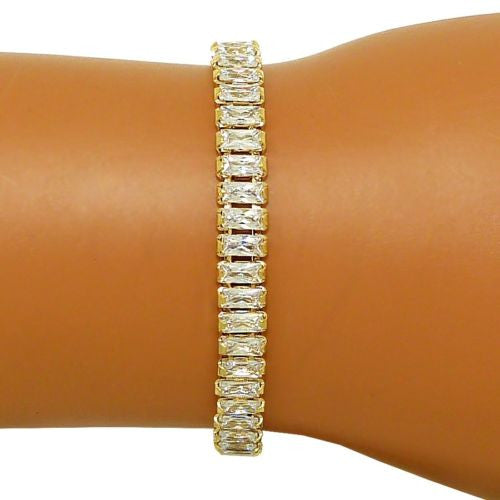 Rectangular Tennis Bracelet Gold made from Swarovski Crystal - ILoveThatGift