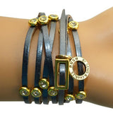 RUSH Denis & Charles Gunmetal Gray Silver Leather Wrap Bracelet Gold CZ - ILoveThatGift
