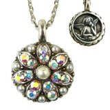 Mariana Guardian Angel Crystal Pendant Silver Necklace M48001 Pearl AB Crystal - ILoveThatGift