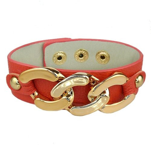 Red Leather Bracelet Gold toned Chain Link Accent Snap Closure - ILoveThatGift