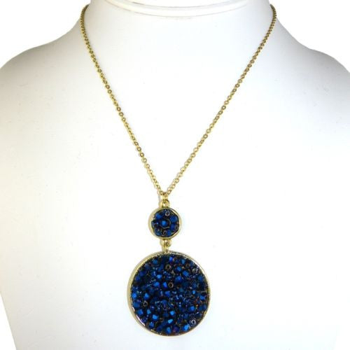 Double Disc Deep Blue Glass Bead Druzy Necklace by Funky Junque - ILoveThatGift