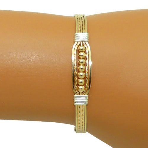 Ronaldo Power of Prayer 188W Wide Bracelet 14K Gold w Silver Wraps & 7 Gold Beads - ILoveThatGift