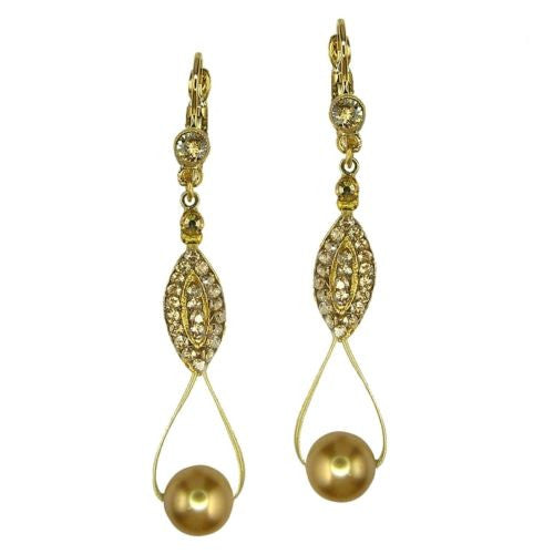 Seasonal Whispers Drop Earrings Gold Gold Pearls Swarovski Crystals 2993 - ILoveThatGift