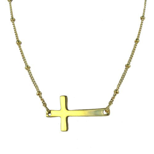Uptown Girls Satin Gold Sideways Cross Necklace 03216G Heather - ILoveThatGift