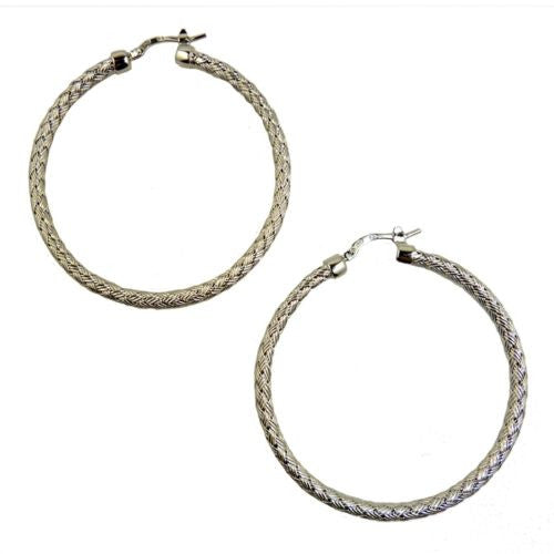 Charles Garnier Perugia 35 mm S Silver Woven Hoop Earrings Rhodium Finish Paolo - ILoveThatGift