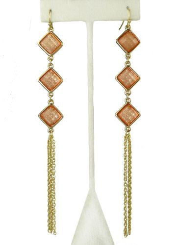 Uptown Girls Coral Gold Diamond Shape Dangle Earrings 0305744G - ILoveThatGift