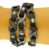Linked X Leather Wrap Bracelet Black or Navy by Funky Junque - ILoveThatGift