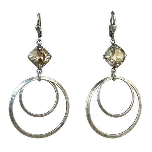 La Vie Parisienne Silver Double Hoop w Crystal Earrings 4199 Catherine Popesco - ILoveThatGift