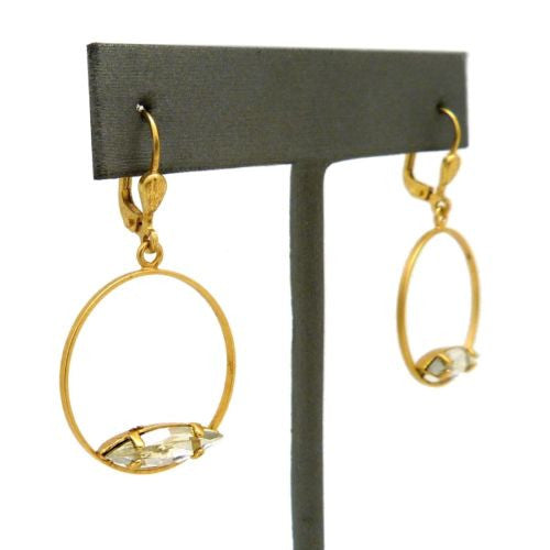La Vie Parisienne Gold Round Hoop with Marquise Clear Crystal Earrings 9406G - ILoveThatGift