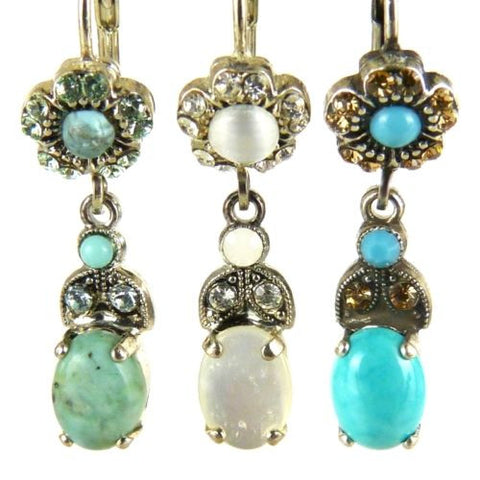 Amaro E173 Leverback Earrings Flower Dangle Swarovski Crystals - ILoveThatGift