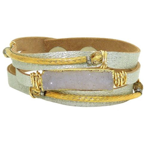 Gigi & Sugar 3 Row Silver Leather Gray Druzy Gold Wire Snap Bracelet Handmade - ILoveThatGift