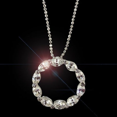"Crislu Sparkle CZ Eternity 7/8"" Circle Pendant with 16"" Chain 2.8 cttw 9109N16CZ - ILoveThatGift"