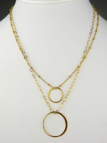 Gold Fill Layered Two Circle Double Necklace by Athena Designs - ILoveThatGift