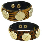 Pony Hair Leather Bracelet Tiger or Leopard Large Screw Wardini - ILoveThatGift
