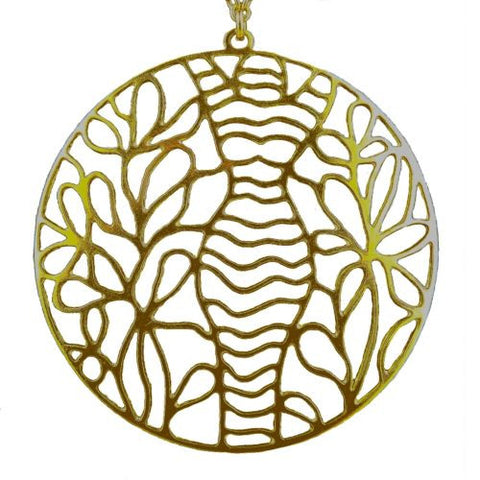 La Femme Woman's Gold Plated Silhouette Large Round Lace Pendant Necklace Grader - ILoveThatGift