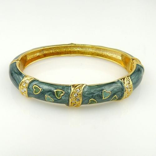 Green Swirl Enamel Gold Toned Bangle Bracelet Pave Hearts - ILoveThatGift