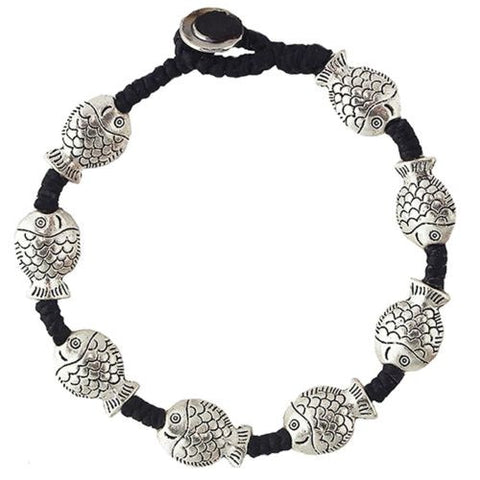 Large Fish Bracelet by Marah Silver Alloy Black Cotton