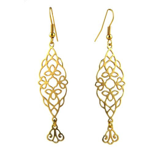 Oriental Anchor Gold Plated Lace Open Fretwork Earrings Orit Grader 808G - ILoveThatGift