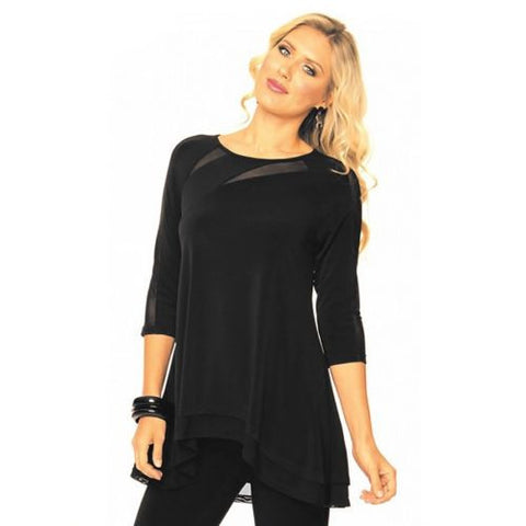 Alisha D Black Jersey Knit Scoop Neck Sheer Cut Out Top Asymmetrical S M L XL