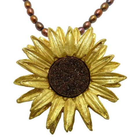 "Sunflower 16"" Adjustable Large Brown Pearl Pendant Necklace by Michael Michaud - ILoveThatGift"