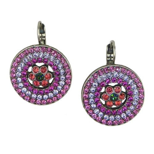 Mariana Handmade Swarovski Crystal Earrings Roundel Design 1078/1 1027 Fuchsia H - ILoveThatGift