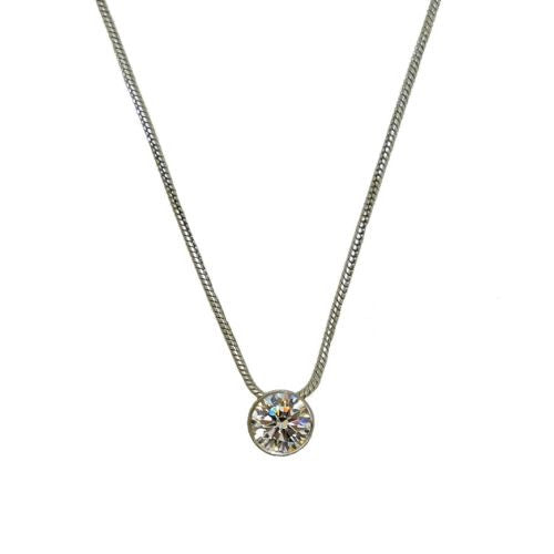 BTiff 1 Carat Solitaire CZ Silver Stainless Steel Pendant Made w Swarovski Cryst - ILoveThatGift