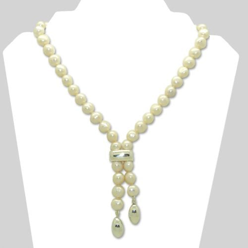Simon Sebbag Short White Pearl Necklace Sterling Silver 925 Drops - ILoveThatGift