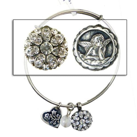 Mariana Guardian Angel Crystal Charm Bangle Bracelet 001001 Clear Swarovski - ILoveThatGift
