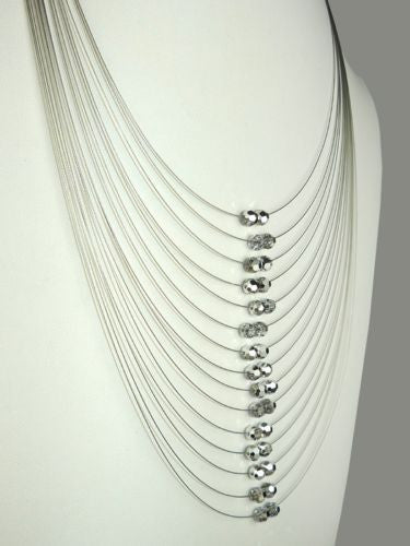 Seasonal Whispers Long Necklace Hematite Silver Swarovski Crystals 8261 - ILoveThatGift