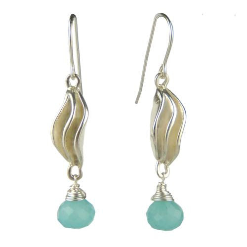 Betsy Frost Design Handmade Sterling Silver 925 Frosting Earrings Chalcedony Blu - ILoveThatGift