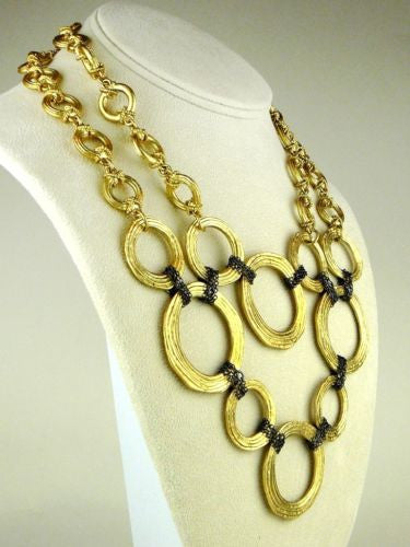 Karine Sultan 24K Gold Plated Circle Chain Bib Necklace - ILoveThatGift