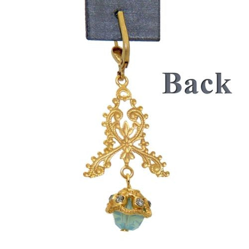 La Vie Parisienne Gold Filigree Crystal Earrings with Pacific Opal Drop 9306G - ILoveThatGift