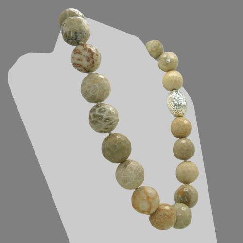 Simon Sebbag Faceted Fossil Chunky Nugget Necklace Sterling Silver 925  NB796RFFC19 - ILoveThatGift