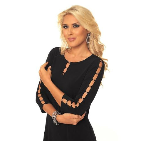 Alisha D Black Open Link Peek A Boo Stretch Top S M L XL Polyester