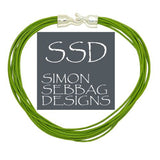 "Simon Sebbag Leather Necklace Kiwi Green Add Sterling Silver Slide 17"" - ILoveThatGift"