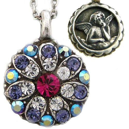 Mariana Guardian Angel Crystal Pendant Silver Necklace 300-1 Fuchsia Pink Purple - ILoveThatGift
