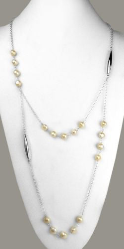 Simon Sebbag Sterling Silver White Pearl Long Bead Necklace - ILoveThatGift