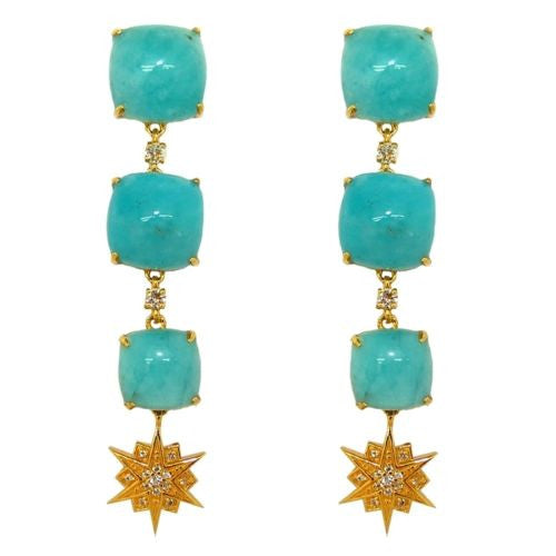 Cristina Sabatini Constellation Amazonite Gold Plated Triple Drop Earrings - ILoveThatGift