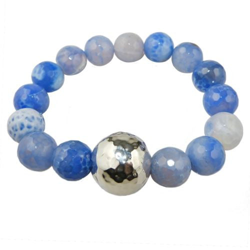 Simon Sebbag Stretch Blue Fire Agate Bracelet with Hammered Sterling Silver 925 - ILoveThatGift