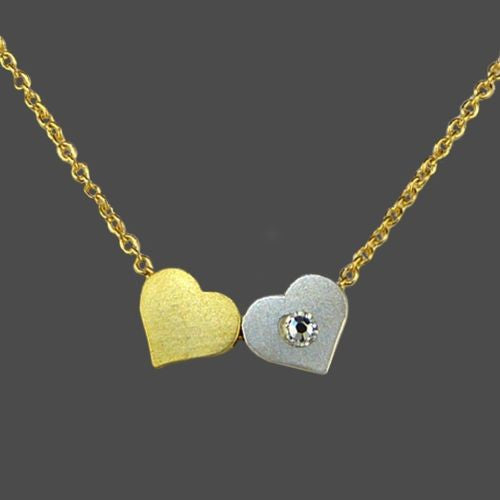 Double Heart Necklace by Funky Junque SIlver Gold Layer with Dogeared - ILoveThatGift