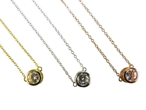 6M Round Crystal Necklace Sterling Silver or Yellow Gold or Rose Gold Athena Des - ILoveThatGift