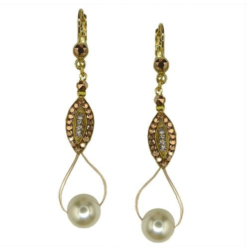Seasonal Whispers Drop Earrings Rose Gold White Pearls Swarovski Crystals 2993 - ILoveThatGift