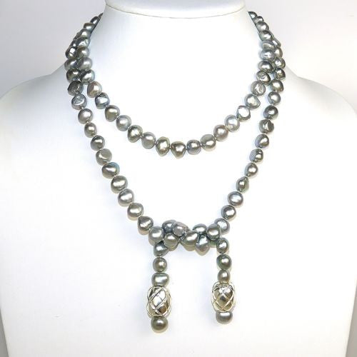 Simon Sebbag Sterling Silver Beads Gray Pearl  Necklace Lariat SS NB771GP - ILoveThatGift