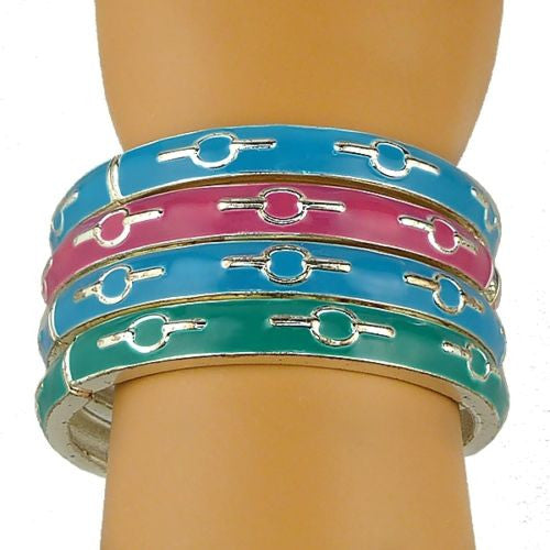 Enamel Silver Toned Bangle Bracelet Pink Blue BlueGreen - ILoveThatGift