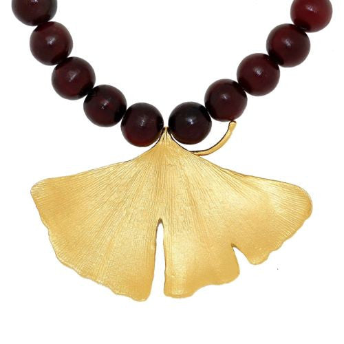 Ginkgo Bold Gold Leaf Red Horn Bead Adjustable Necklace by Michael Michaud - ILoveThatGift
